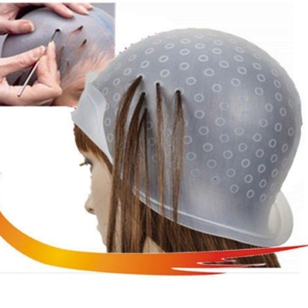 Gorro de peluquería de silicona para resaltar el tinte y esmerilado, herramienta profesional reutilizable para el pelo, para estilismo de color VOOYE