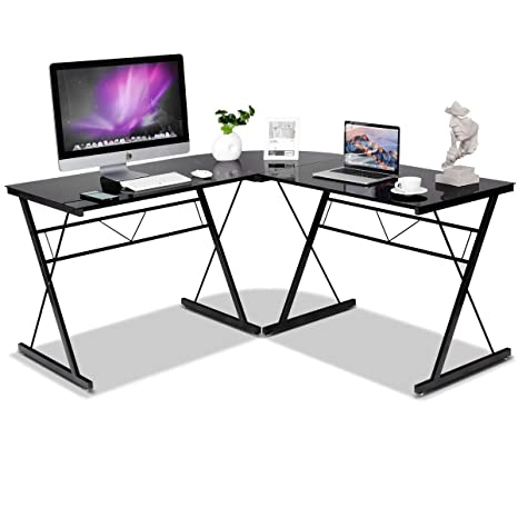 Tangkula L- Shaped Corner Desk, Corner Computer Desk, Modern Simple Style  3-Piece Metal Frame Study Laptop Desk Writing Gaming Table, Computer ...