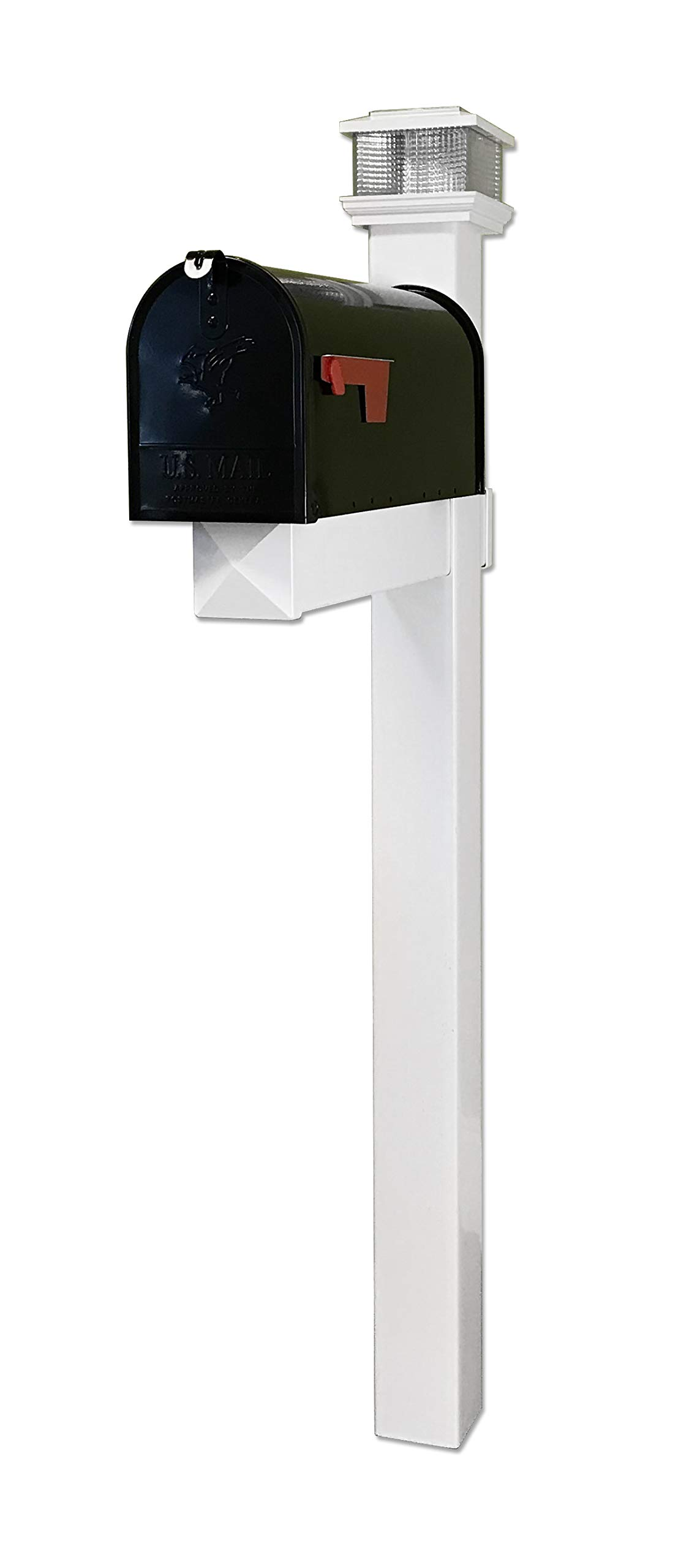 4EVER The Galaxy Black Steel Mailbox with LED Solar Light Cap and White Vinyl Post