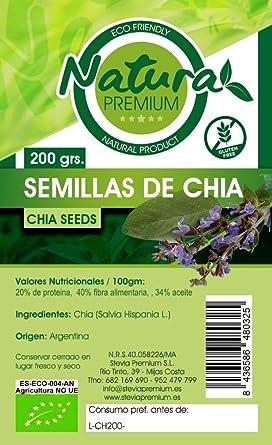 Natura Premium - Semillas de Chia Bio, 200 g: Amazon.es ...