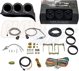 GlowShift Diesel Gauge Package for 1986-1993 Dodge Ram Cummins First 1st Gen - Black 7 Color 60 PSI Boost, 1500 F Pyrometer EGT & Transmission Temperature Gauges - Black Triple Dash Pod