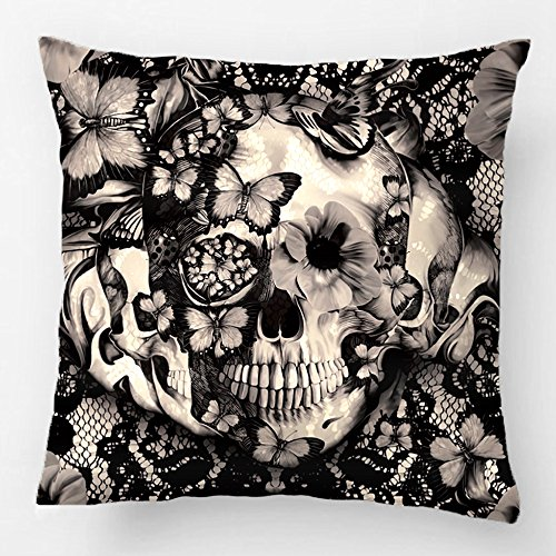 ALEX Throw Pillow Case Decorative Cushion Cover Cotton Polyester Sofa Chair Seat Square Pillowcase Design With Victorian Gothic Lace Skull Custom Personalized Pillow Cover Sized 20X20 (Victorian Halloween)