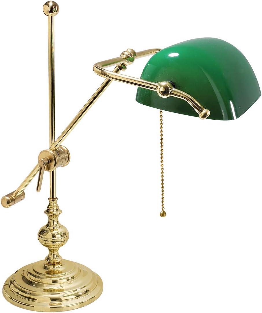 Lámpara ministerial de mesa, cristal verde, de latón, fabricado en ...