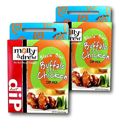 Buffalo Wing Dip (molly&drew Party Pleasures Hot Dip Mix (2 Packs), Blazin Bleu Buffalo)