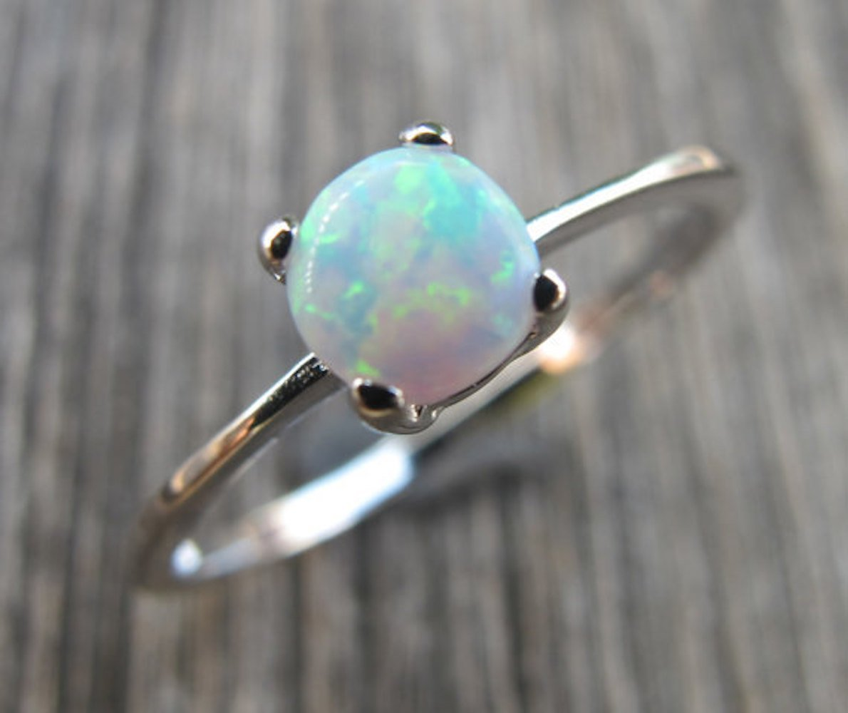 Round White Opal Stackable Ring Size 9.5