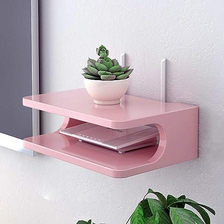 Jsmhh TV montada en la Pared del gabinete de TV Consola del Router Estante de DVD Set-Top Box Equipaje Teléfono Colgador Caja Flotante Estante de Montaje en Pared Estante (Size : Pink):