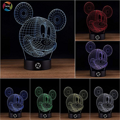 3D Optical Illusion Night Light - 7 LED Color Changing Lamp - Cool Soft Light Safe For Kids - Solution For Nightmares - Disney Mickey Mouse (Round Mickey Mouse)