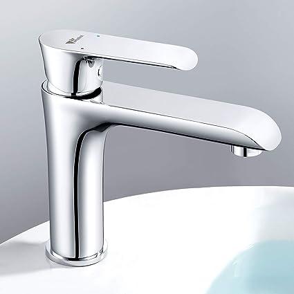 QAS Rubinetto del lavandino del bagno rubinetto della cucina caldo e freddo,Argento