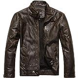 elegantstunning Man Leather Jacket Pure Color Fashion Stand Collar Brushed Man Jacket