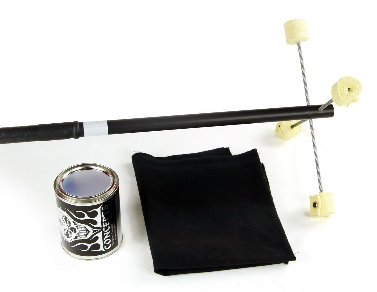 Trick Concepts - Fire Dragon Staff, Standard with Kevlar Wick, Quart Dip Can, Fire Blanket