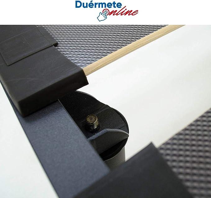 Duérmete Online Colchón Viscoelástico Pocket Visco Reversible + Somier Extra-Reforzado   Láminas Anchas Haya   Taco Anti-Ruido + Juego de Patas 27cm, ...