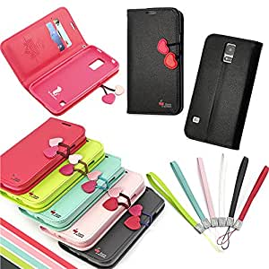 Pioneer Tech Cherry cute flip leather wallet stand case cover for Samsung galaxy S5 -ma (Black)