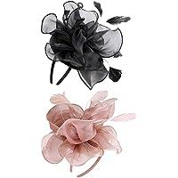 Dolity 2pcs Pink+Black Vintage Flower Fascinator Feather Hat 1920s Gatsby Bride Party Headwear