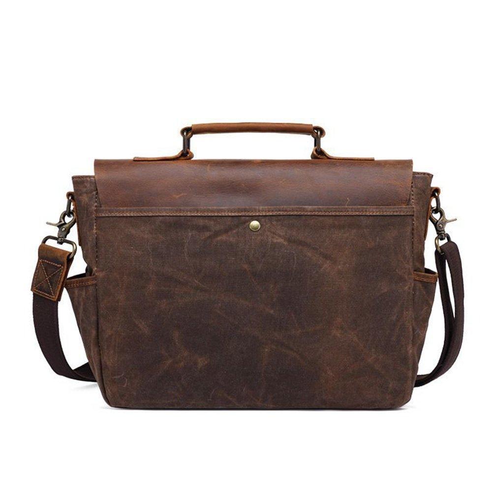 FeliciaJuan Simple Retro Zip Canvas Briefcase Shoulder Bag Messenger Bag Color Brown