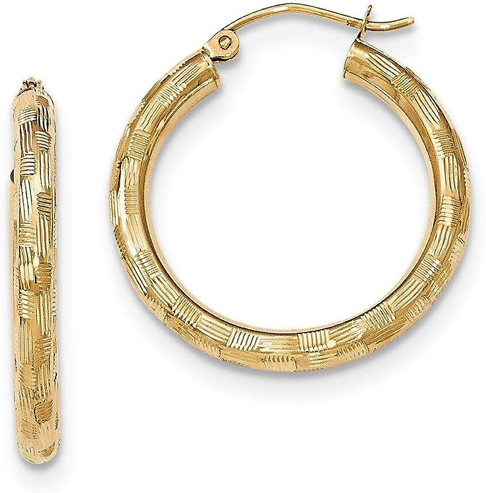 Lex /& Lu 14k Yellow Gold Textured Hoop Earrings LAL82033