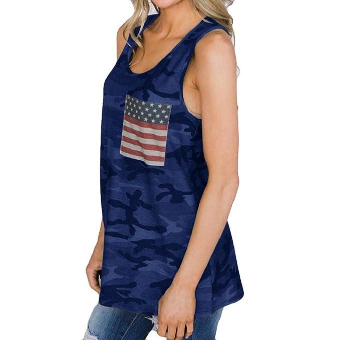 QUICKLYLY Camisetas Mujer Verano 2018 Casual Camuflaje Chaleco Moda Blusa Ocio Bandera Impresión Sin Mangas Tops