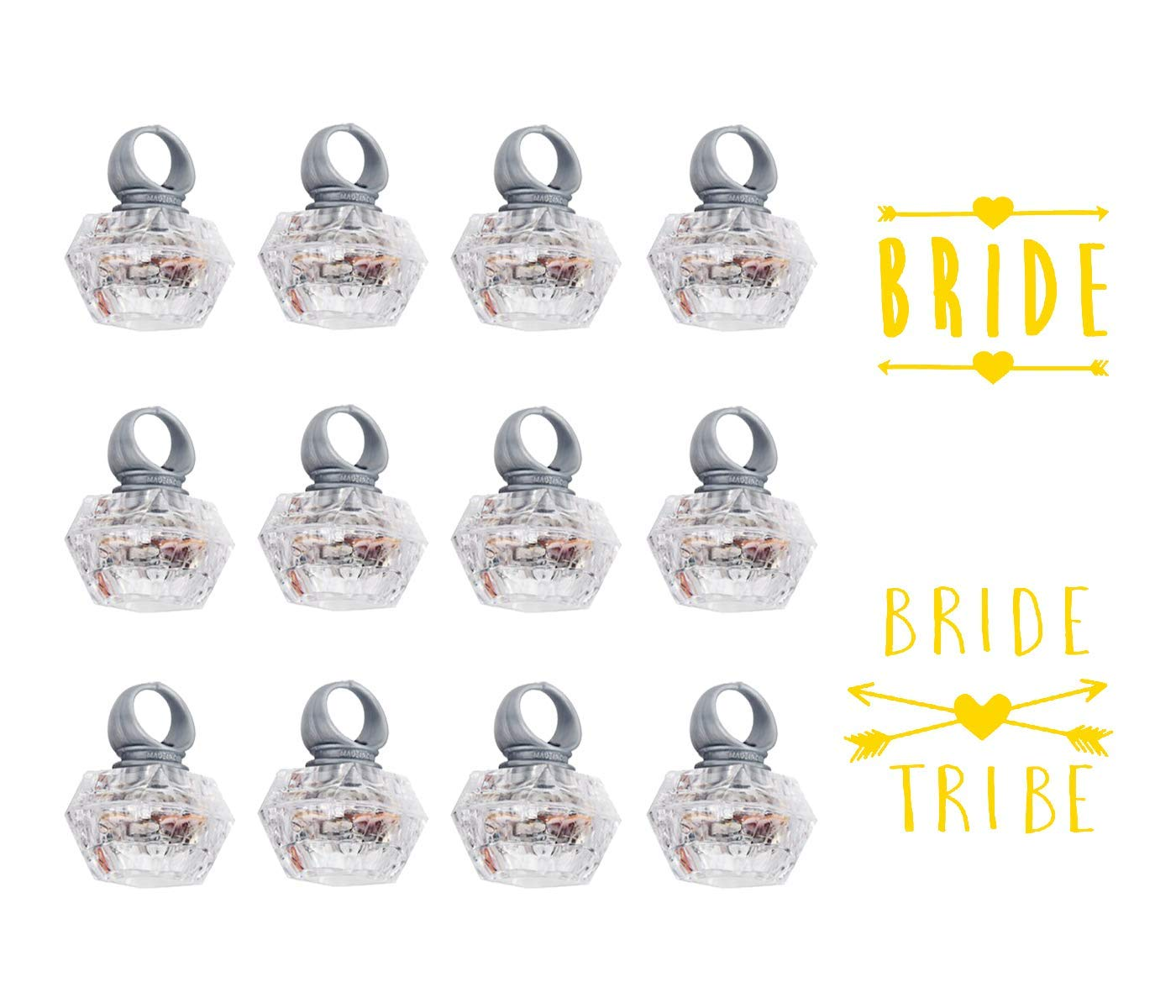ROUNDSQUARE Bachelorette Party Light Up Rings Engagement Diamond Rings 12 Packs & Team Bride Tatoo 12 Packs