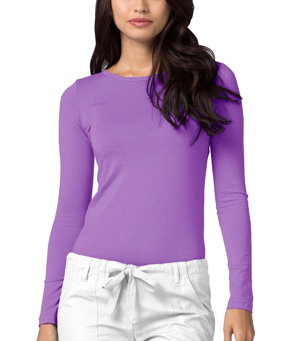 Adar Womens Comfort Long Sleeve T-Shirt Underscrub Tee - 2900 - Lavender - S