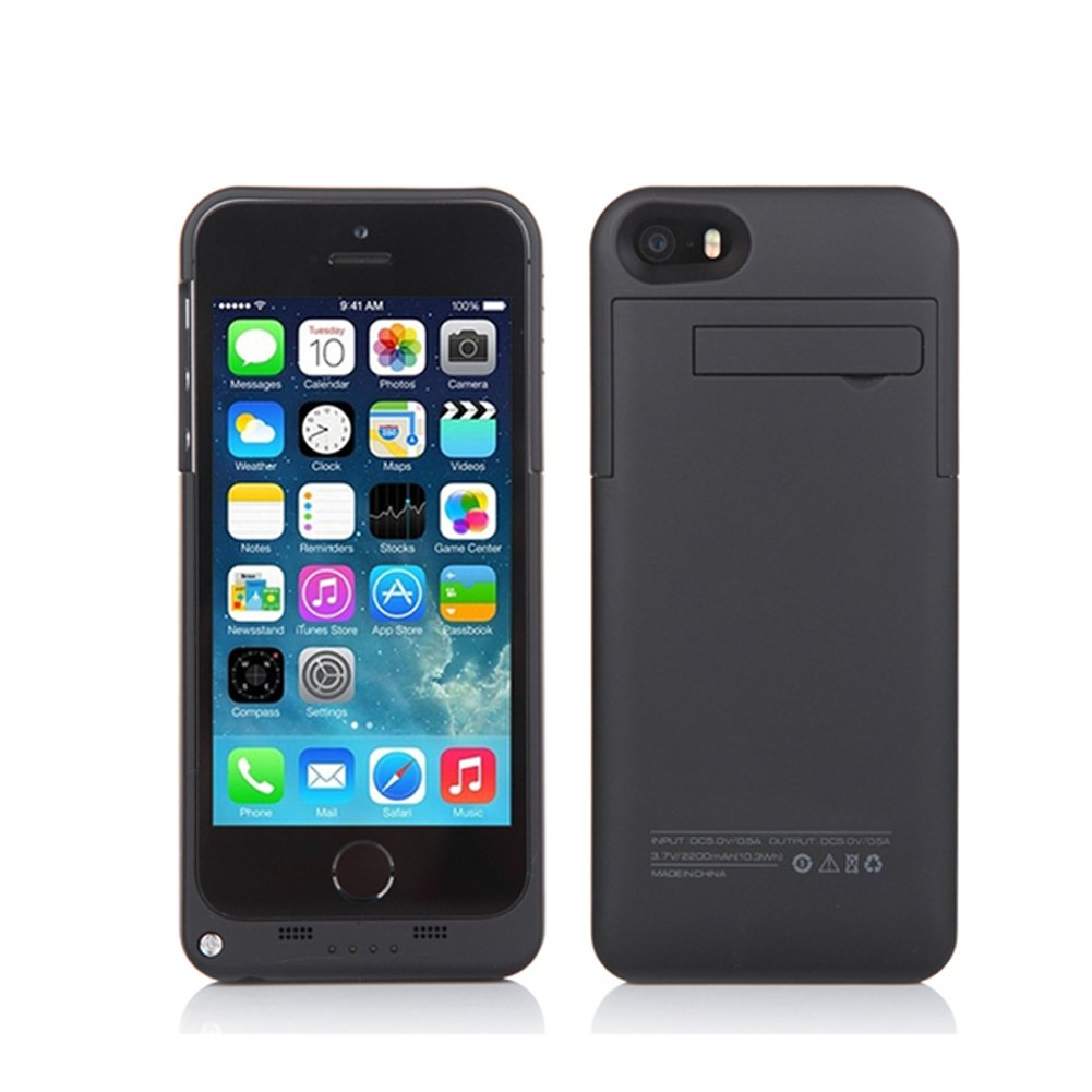 SYR- 2000mAh power case External Backup Battery charger for iPhone 5/5s/5C SE Black
