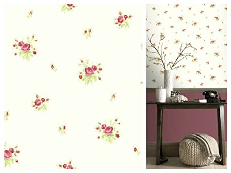 Dolly Mixtures Chintz Rose Strawberry Wallpaper 268071