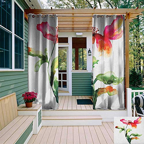 leinuoyi Watercolor Flower, Outdoor Curtain Extra Long, Shaded Single Poppy Flowering Plant Muse Nature Earth Divine Grace, for Patio Waterproof W120 x L108 Inch Red Green White