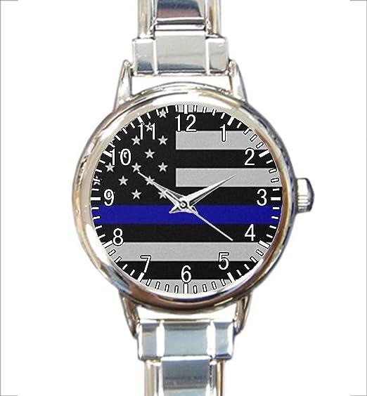 Amazon Com Thin Blue Line Flag Custom Womens Round Charm Bracelet