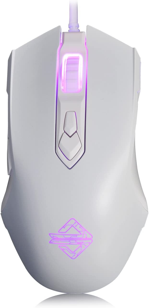 Ajazz AJ52 Watcher RGB Gaming Mouse, Programmable 7 Buttons, Ergonomic LED Backlit USB Gamer Mice Computer Laptop PC, for Windows Mac OS Linux, White