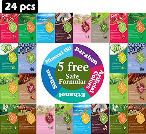 entel-24-pcs-combo-pack-premium-korean-essence-facial-mask-sheet-12-types-x-2-pcs-five-chemical-free