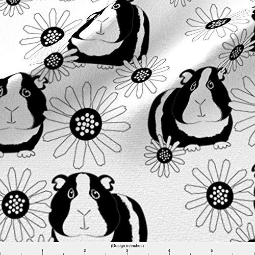 Guinea Pig Fabric Guinea-Pigs-And-Daisies-Black-And-White by Lilcubby Printed on Fleece Fabric by the Yard by Spoonflower