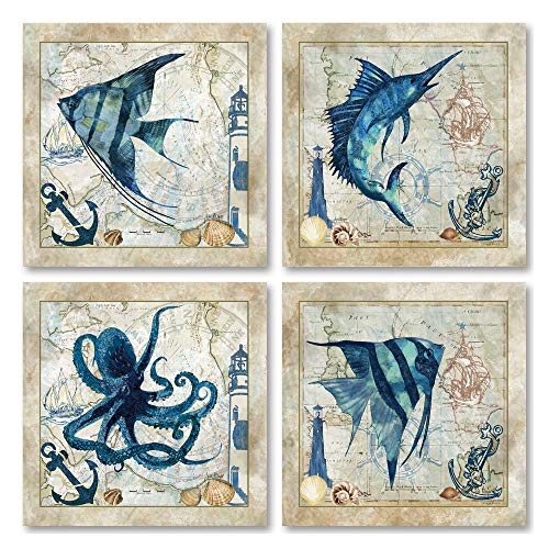 Classic Nautical Octopus, Swordfish, & Tropical Fishes Prints; Set of 4 Posters Each - Prints Antique Nautical