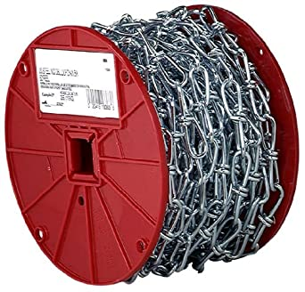 "Campbell AW0751024 Low Carbon Steel Double Loop Inco Chain on Reel, Zinc Plated, 1/0 Trade, 0.12"" Diameter, 100' Length, 200 lbs Load Capacity"