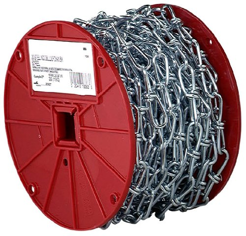 Campbell AW0751024 Low Carbon Steel Double Loop Inco Chain on Reel, Zinc Plated, 1/0 Trade, 0.12'' Diameter, 100' Length, 200 lbs Load Capacity