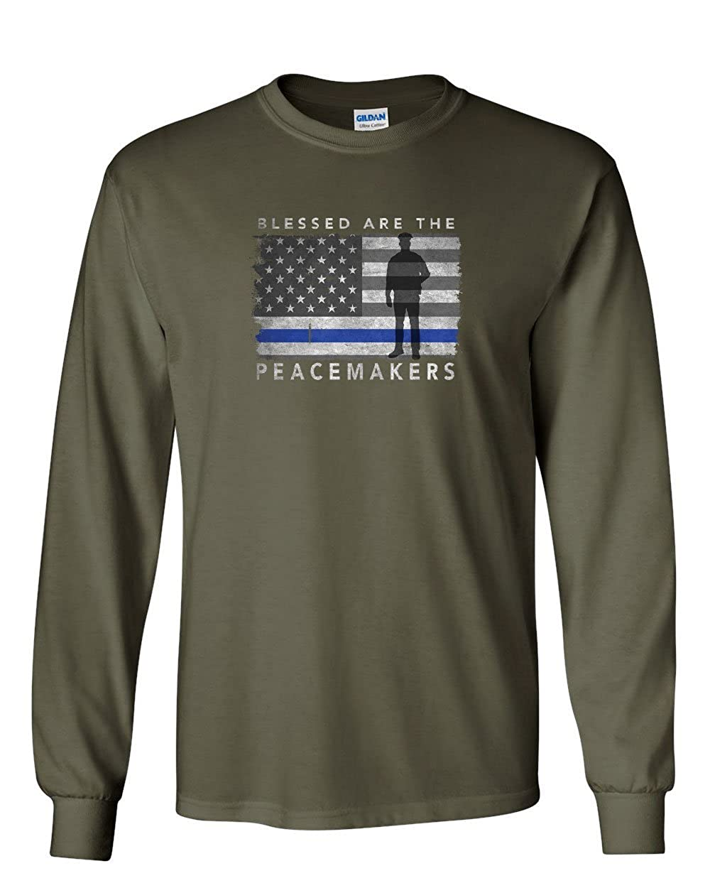 Blessed are The Peacemakers Long Sleeve T-Shirt Police Thin Blue Line Cops Tee