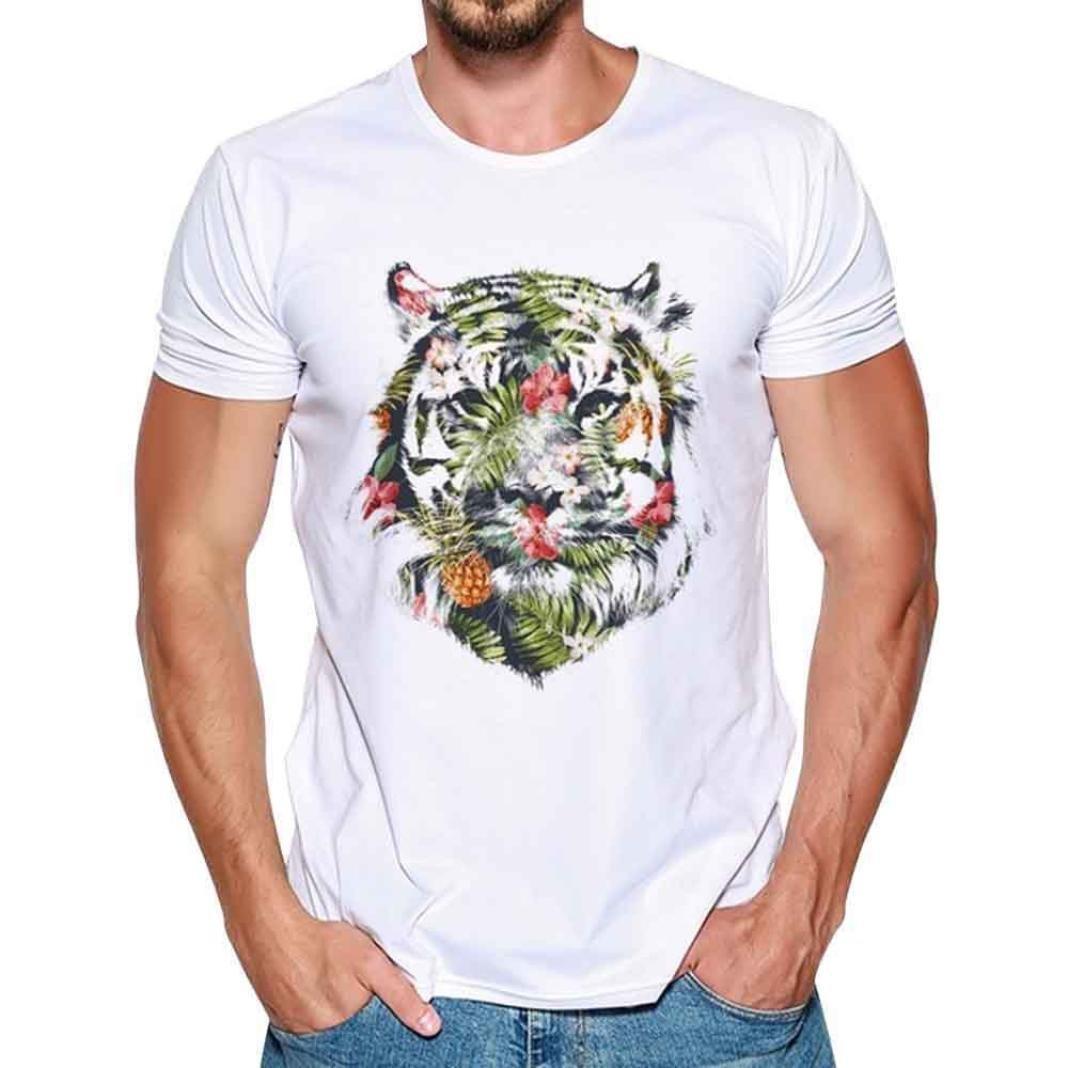 HUIHUI Oversize Vintage Herren T-Shirt 3D L/öwe Drucken Kurzarm Blouse Herren Slim Fit Kapuzenpullover Baumwolle O-Ausschnitt Coole Strassenbande Pullover Trainings Sport Sweatshirt
