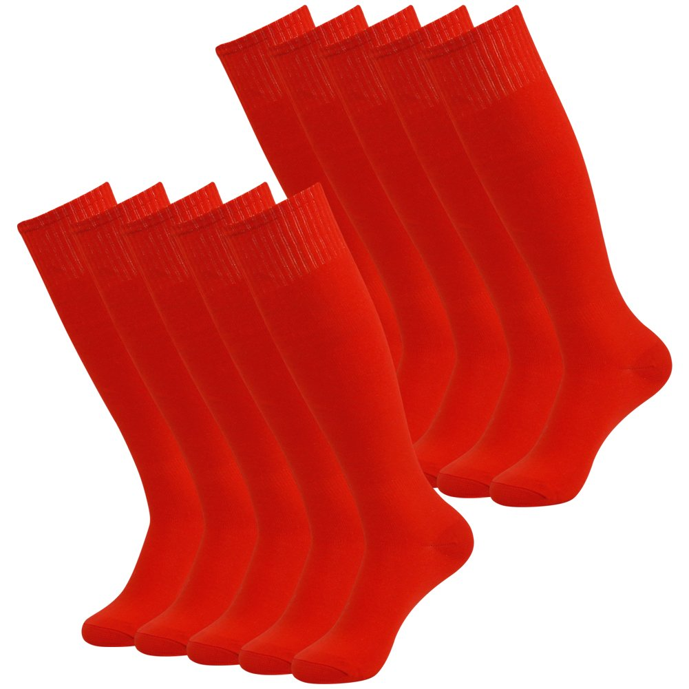 Three street Women's Men's Over Knee High Solid Athletic Soccer Football Workout Long Tube Socks for Back to School Red 10-Pairs by Three street
