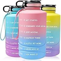 Motiverende waterfles met tijdmarkeringen en stro, 2,2 liter halve galon, grote sportwaterkruik met handvat, BPA-vrije…