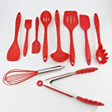 10 Pieces Silicone Kitchen Utensils, Fredhome Heat Resistant Cooking Utensil Set Non-Stick Baking Tool,Scraper, Spoon, Tongs, Pasta Fork, Slotted Spoon, Spoonula, Slotted Turner, Whisk, Brush (Red)