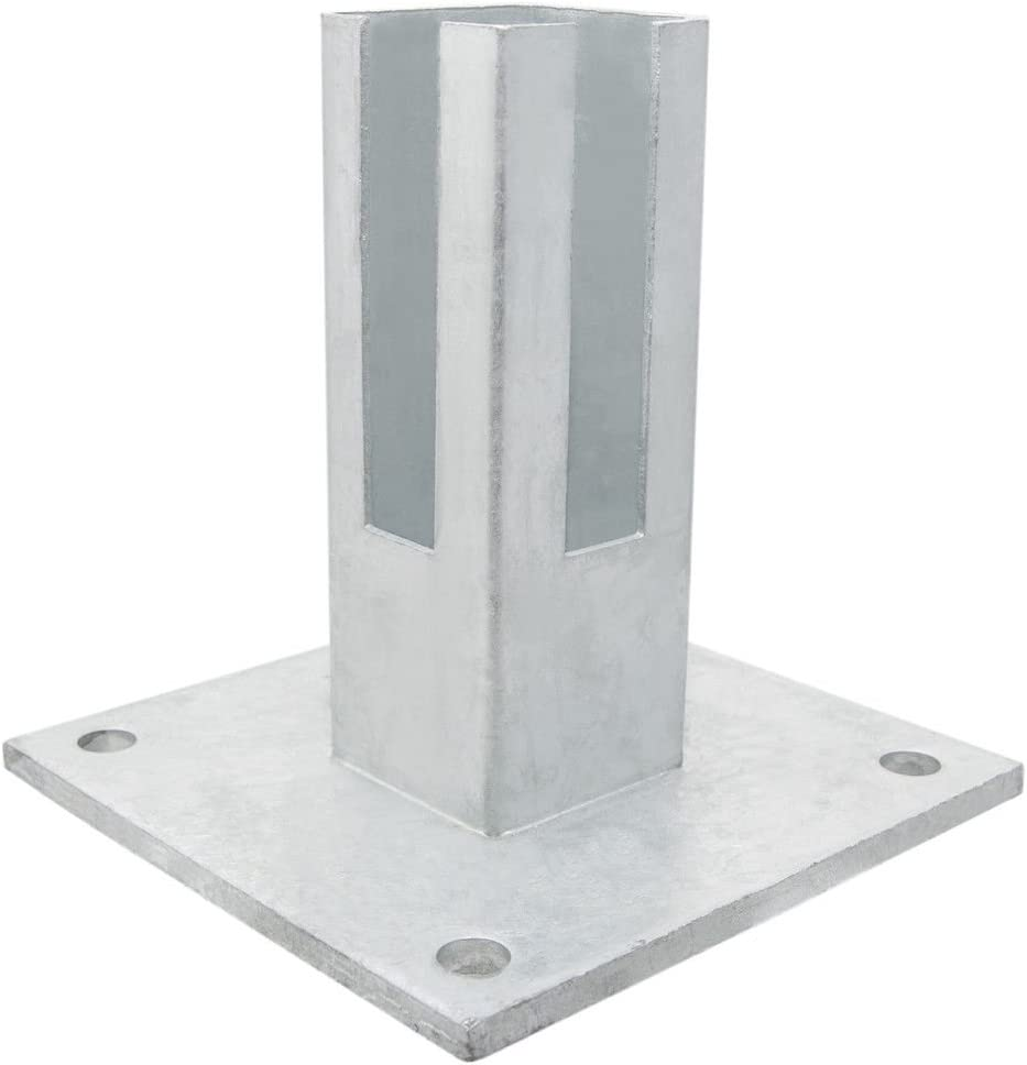 Placa base de postes para portadas 60 x 60 mm I fusspl Medir I postes adaptador placa de suelo I – Puerta postes I I postes adaptador I Valla I Jardín Puerta