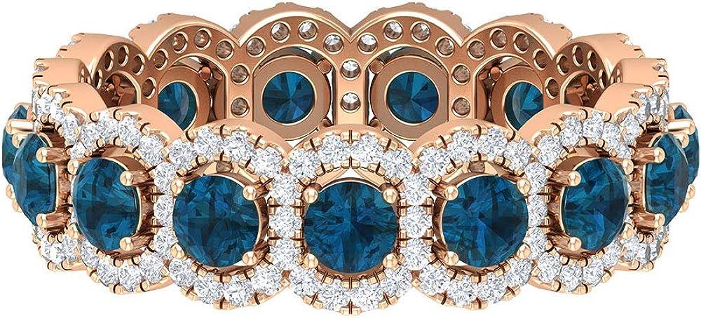 Anillo de eternidad con piedras preciosas, 1,8 quilates, 3 mm, topacio azul, anillo de Londres, anillo redondo de 0,8 quilates, anillo de boda con halo, 18K Oro