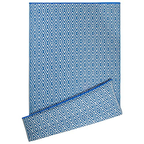 DII Contemporary Indoor/Outdoor Lightweight Reversible Fade Resistant Area Rug, Great For Patio, Deck, Backyard, Picnic, Beach, Camping, & BBQ, 4 x 6', Blue Diamond by DII
