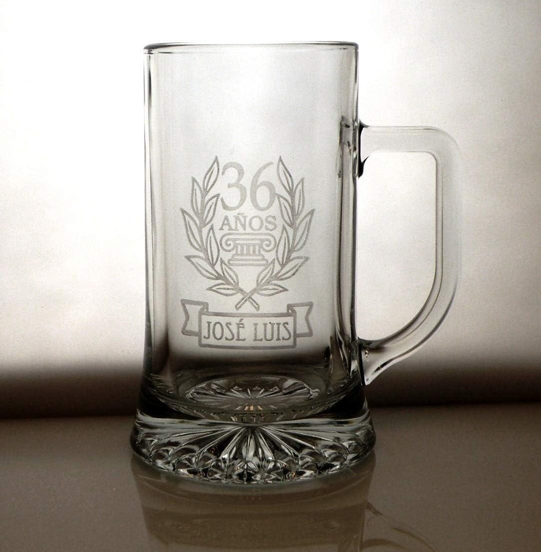 Arte-Deco Jarra DE Cerveza Stern GRABADA Y Personalizada para CUMPLEAÑOS Laurel. Jarra 520 ML con Estuche, Regalo para cumpleaños, Hombre, Mujer y Cualquier celebración