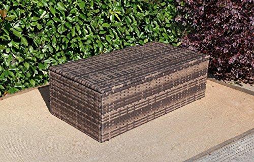 Baner Garden A104 Outdoor 1Piece Rectangle Glass Table Rattan Patio with Storage Compartment, Mixed Gray/Dark Gray/Light Gray (Outdoor Furniture Garden Baner)