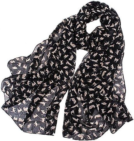 DAYAN Morbido sciarpa di disegno del gatto accessorio da donna colore nero