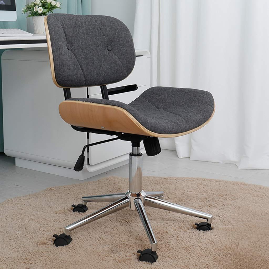 ZHAN YI SHOP kontorsstol, verkställande träarbetsstol, fuskläder vadderad dator hem datorstol, mellanrygg justerbar höjd krom bas arbetsstol (färg: grå) Svart