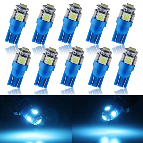 Grandview - 10 bombillas LED blancas T10 5050 12 V W5 W 2825 T10 para coche