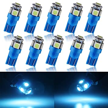 Grandview 10 Pack T10 501 LED Bulbs W5W 194 168 Ice Blue 5 SMD