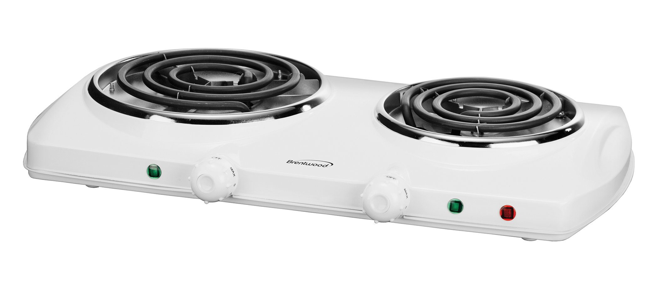Brentwood TS-368W 1500w Double Electric Burner, White