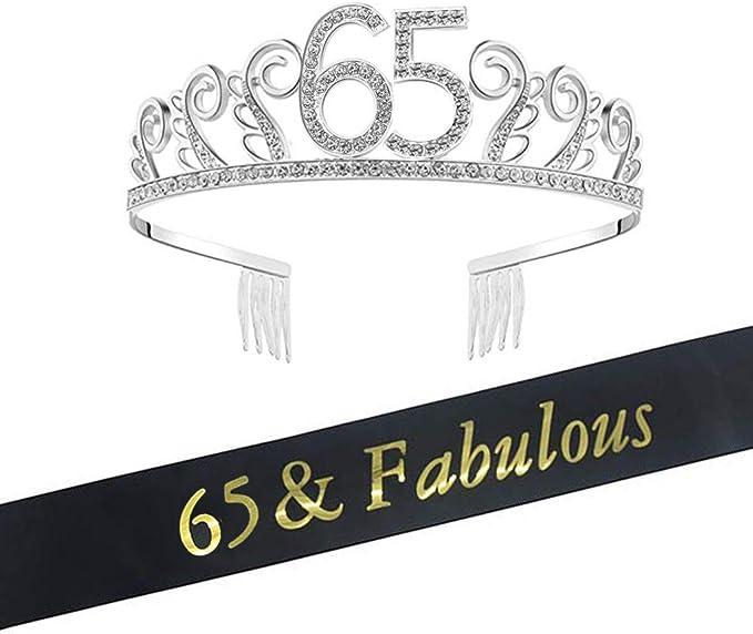 Amazon.com: Tiara y banda de 65 cumpleaños para decoración ...