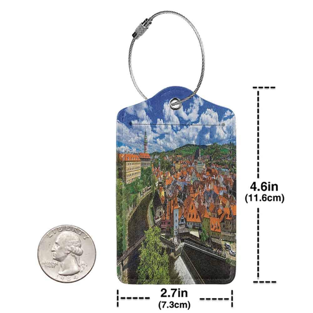Multicolor luggage tag Wanderlust Decor Collection View of Cesky Krumlov Czech Republic Cloudy Sky Bohemia Cesky Urban Downtown Picture Hanging on the suitcase Orange W2.7 x L4.6