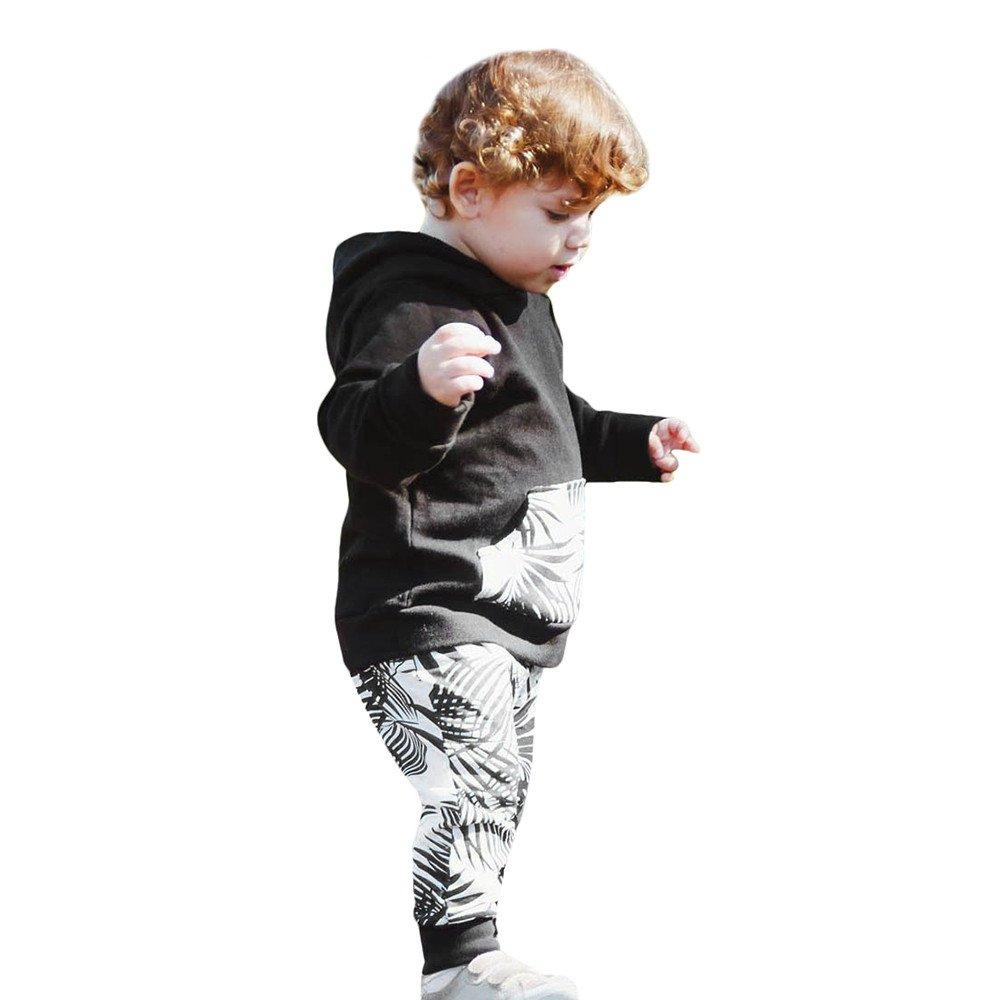 YanHoo Conjuntos de Ropa para bebés niño Sudadera con Capucha de Manga Larga con Estampado de Hojas de bebé, Top + Pantalones Traje de otoño e Invierno ...
